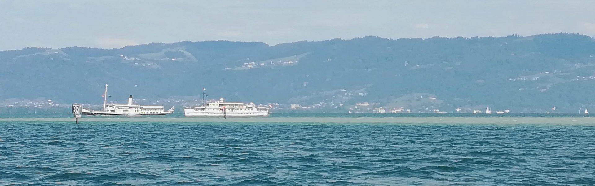 Historische Schifffahrt Bodensee, beide Schiffe auf dem Wasser (c) cs I Vorarlberg Tourismus